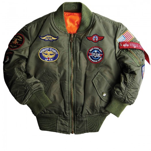 Youth ma-1 jacket with patches (Sage)